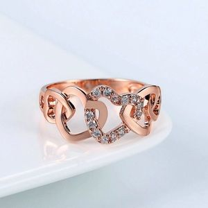 💝Love Hearts CZ 18K Rose Gold Plated  Ring